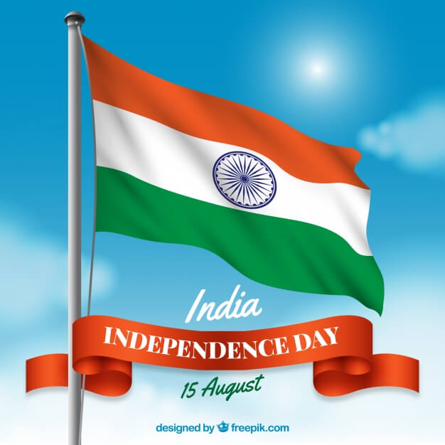Indian Flag Mockup With The Composition Of Independence day Vector.
