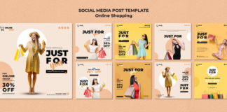 Instagram posts collection for online fashion Mockup PSD Template