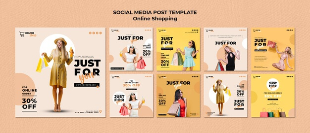 Free Instagram posts collection for online fashion Mockup PSD Template