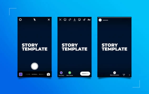 Instagram stories publication process mockup Premium Psd