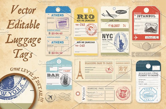 International Tour Luggage Hang Tag Vector File Illustration