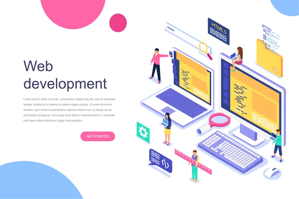 Isometric Web Development Concept Mockup