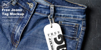 Free Jeans Tag Mockup PSD Template