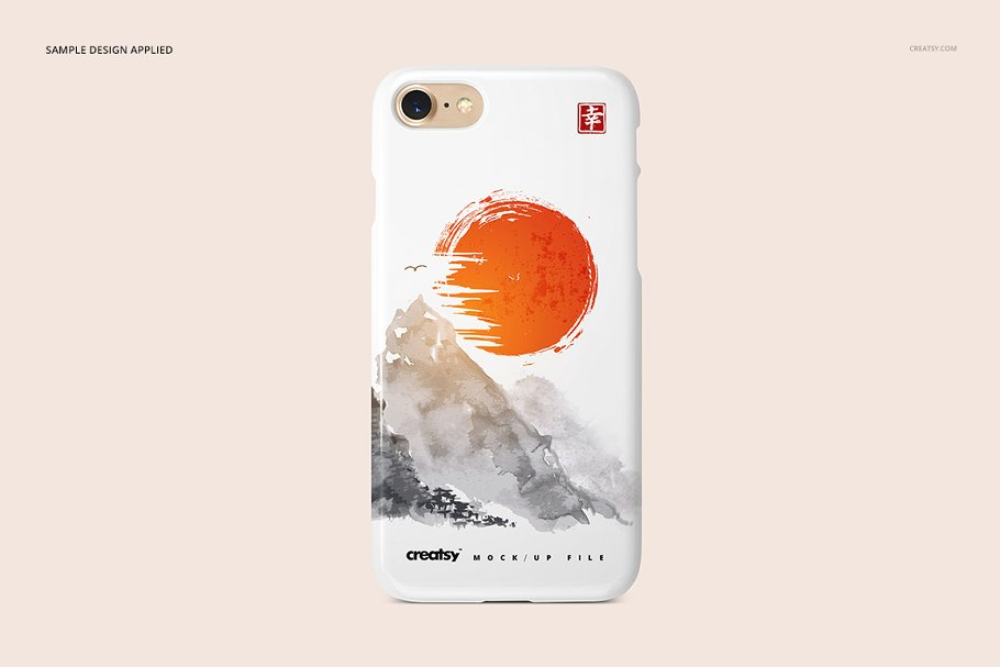 Landscape Printed Phone Case In Pink Background Mockup.