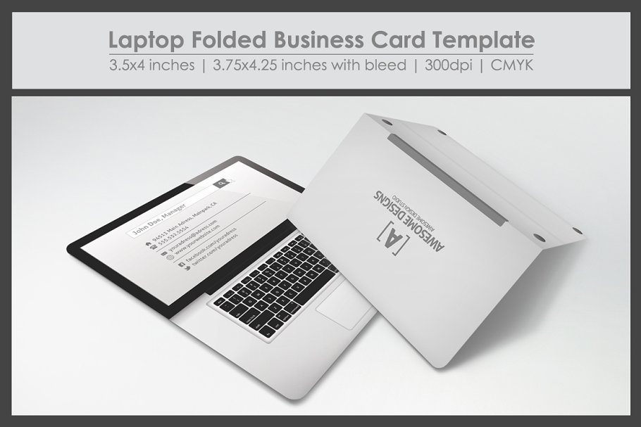 Laptop Theme Folded Business Card Template And Mockup