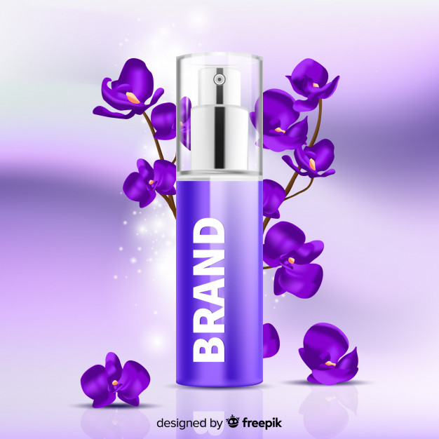 Lavender Fragrance Perfume Bottle Vector: