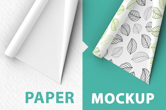Leaf outlined Print Wrapping Paper PSD