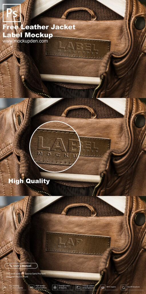 Free Leather Jacket Label Mockup PSD Template