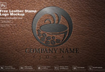 Free Leather Stamp Logo Mockup PSD Template