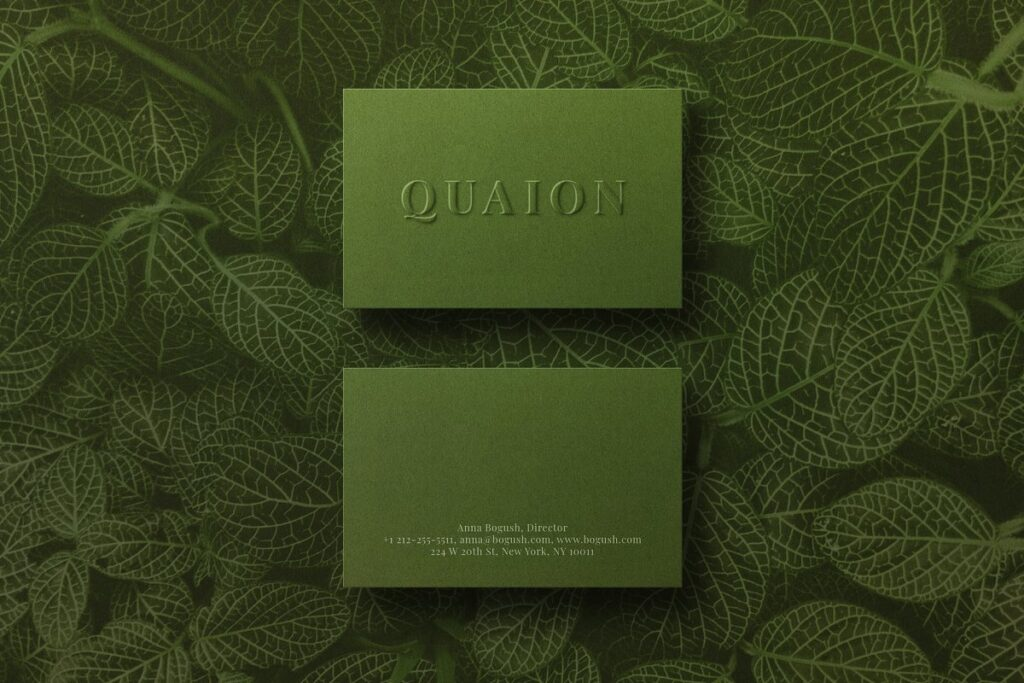 Leaves Printed On The Background Sap Green Color Business Card
