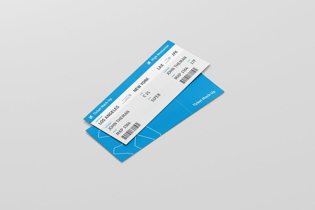 Light Blue Ticket Template