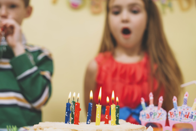 Lit Birthday Candles on Birthday Cake Picture