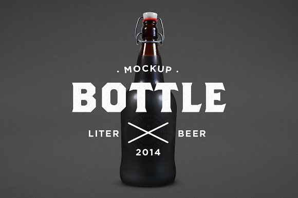 Liter beer bottle PSD Mockup: