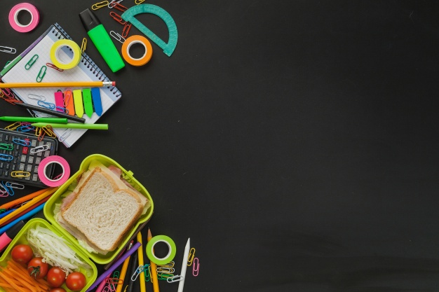 Lunch Box With Stationery Items Kept Beside Mockup