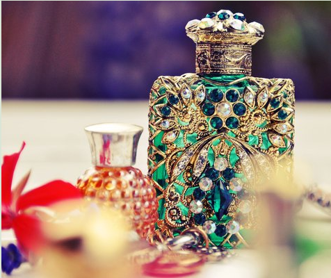 Luxurious Perfume Bottle With Gemstones Mockup: