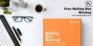 Free Mailing Box Mockup PSD Template