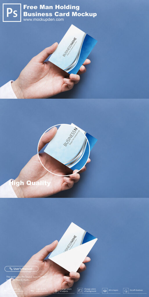 Man Holding Business Card Mockup Free PSD Template