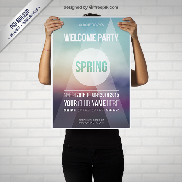 Man Holding Party Poster Mockup