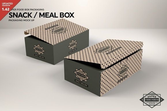 Meal And Snack Packaging Mockup Box Template