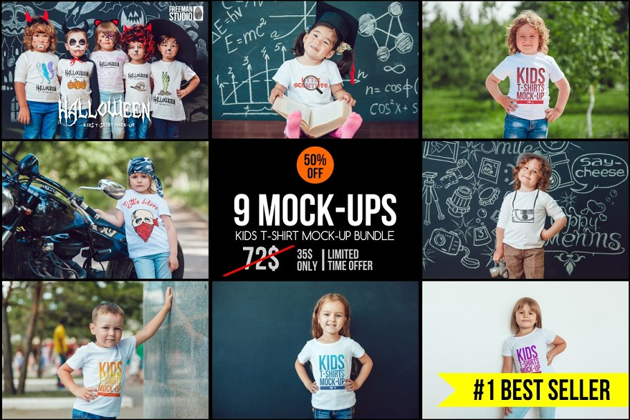 Mega Bundle Of Kid's T-shirt PSD Mockup.