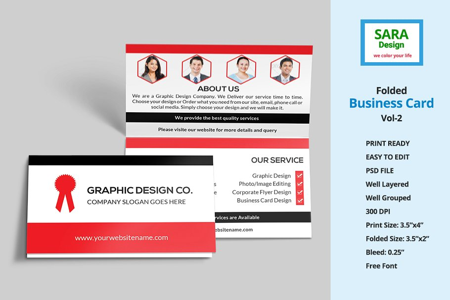 Members Photo Printed Folded Business Card Mockup