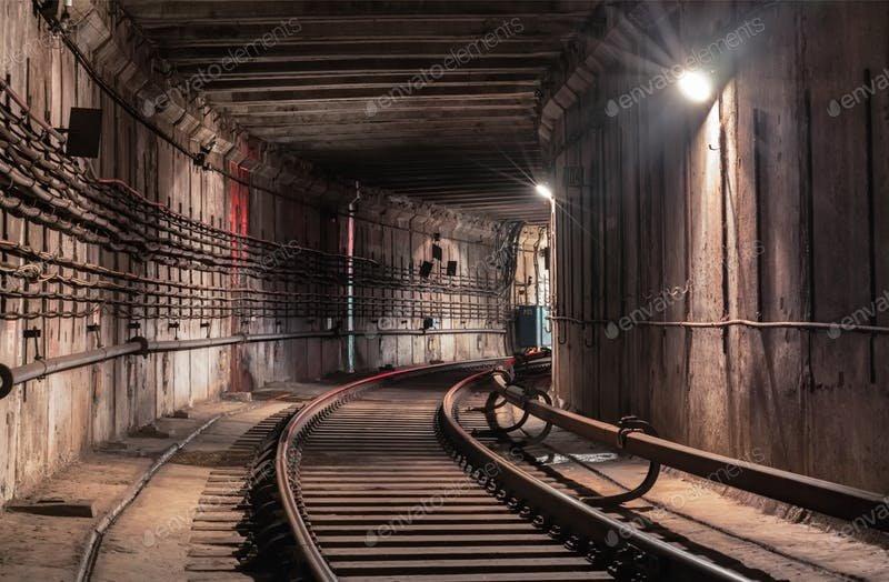 Metro Tunnel Scene Mockup