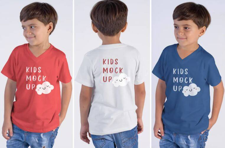 Mixed T-shirt Collection For Kids Mockup