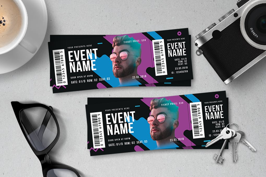 Model Photo Print Event Ticket