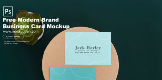 Free Modern Brand Business Card Mockup PSD Template