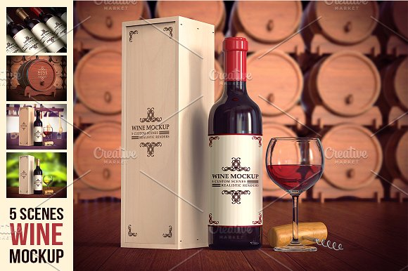 Modern Packaging Wine Box With Different Background
