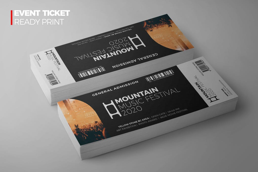 Mountain Music Festival Ticket Illustration