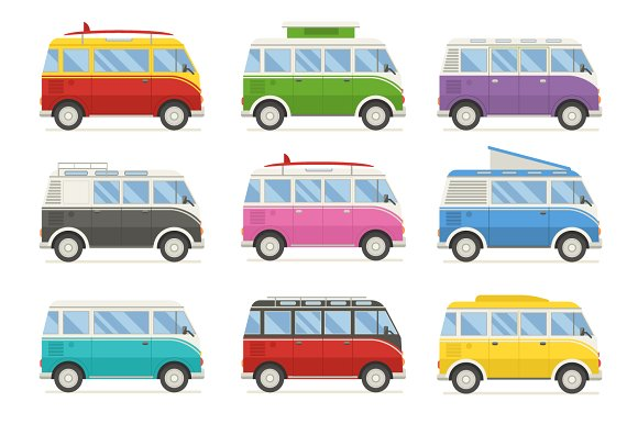 Multi-Color Bus Collection Mockup