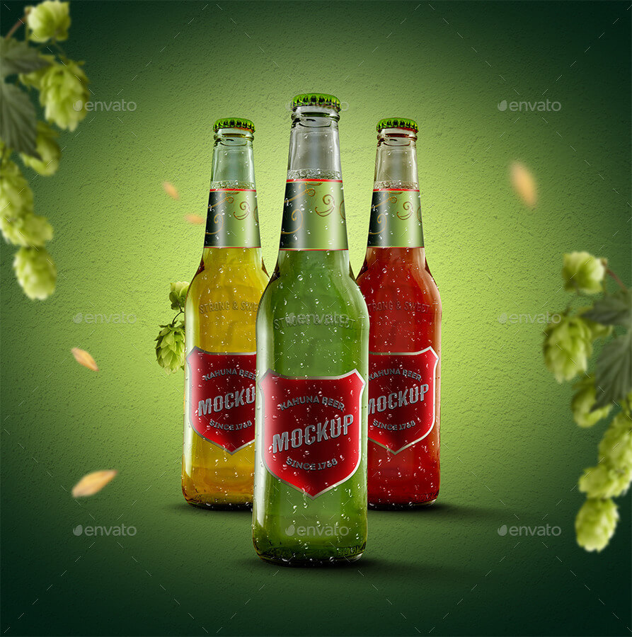 Multi coloured beer bottle PSD Mockup: