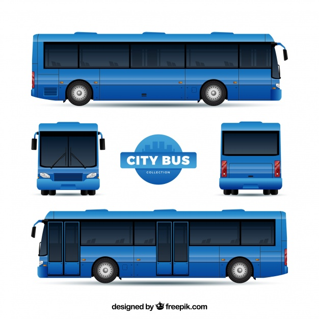 Multiple View Of Tourist Bus Vector illustration