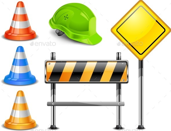 Multiple construction Site Sign Boards And Safety Hat Illustration