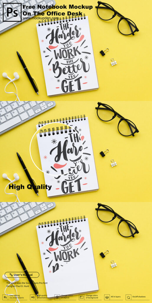 Free Notebook Mockup On The Office Desk PSD Template