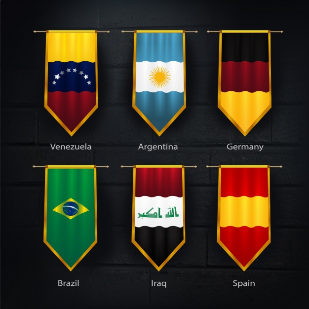 Official Collection OF Soccer Team's Flag Mockup.