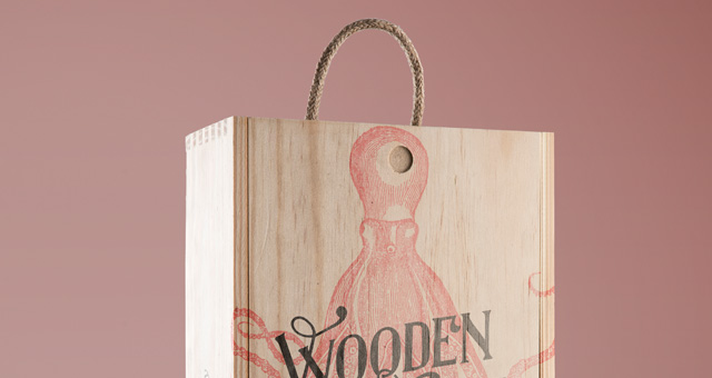 Old Vintage Wine Box PSD