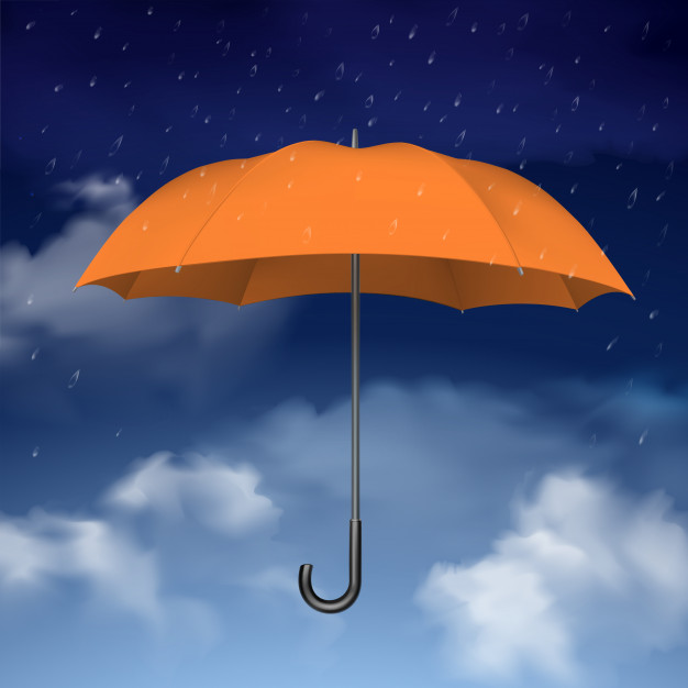 Orange Umbrella In The Sky Vector.