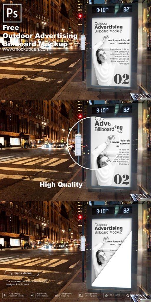 Free Outdoor Advertising Billboard Mockup PSD Template