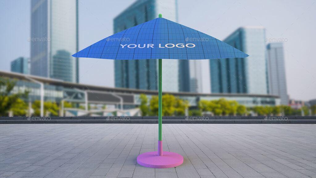 Outdoor Sun Umbrella PSD Mockup.