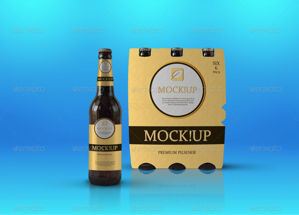 Pack of 6 Beer Bottles PSD Mockup: