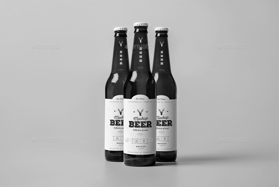 Pack of Three Beer Bottle PSD Design Idea: