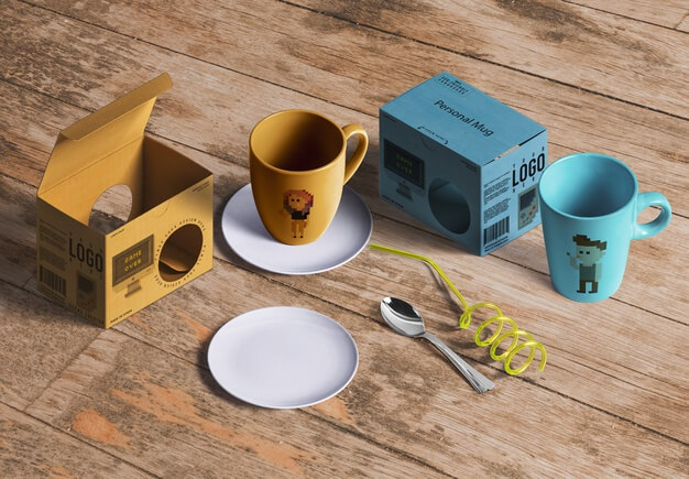 Packaging mockup for tea or coffee products Free Psd