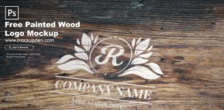 Free Painted Wood Logo Mockup PSD Template
