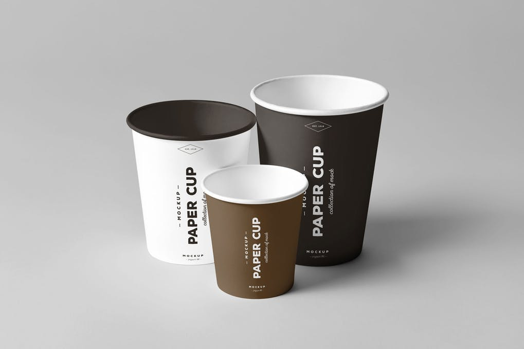 Paper Cups of different sizes Mockup