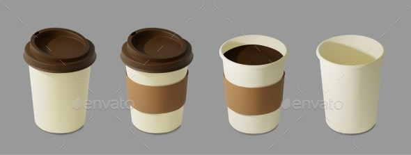 Paper Realistic Coffee Cup Mockup Isometric