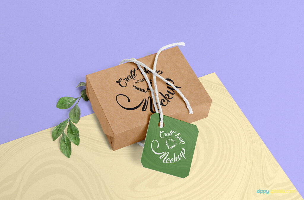 Paper Soap Box PSD With Tag