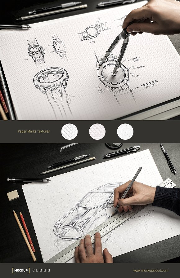 Pencil With Compass Mockup PSD