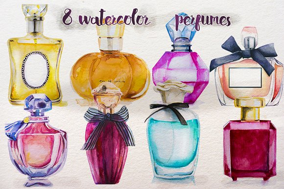 Perfume Bottle Prepared with Watercolors Design Template: